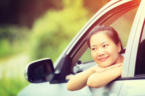 Young Asian Woman Driver Sit Interior Car