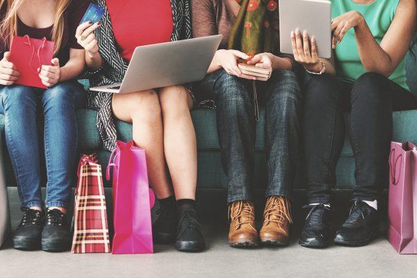 Women Femininity Shopping Online Happiness Concept